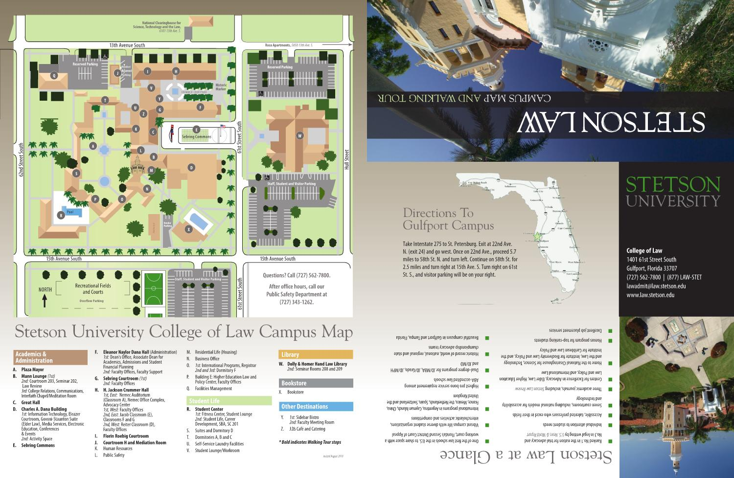 Stetson Campus Map 2010 Stetson Law Campus Map and Walking Tour by Stetson University