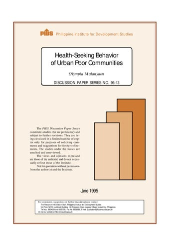 Health-Seeking Behavior of Urban Poor Communities by Ronald