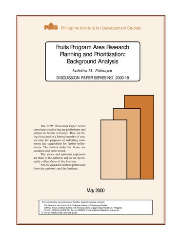 Fruits Program Area Research Planning and Prioritization: Background