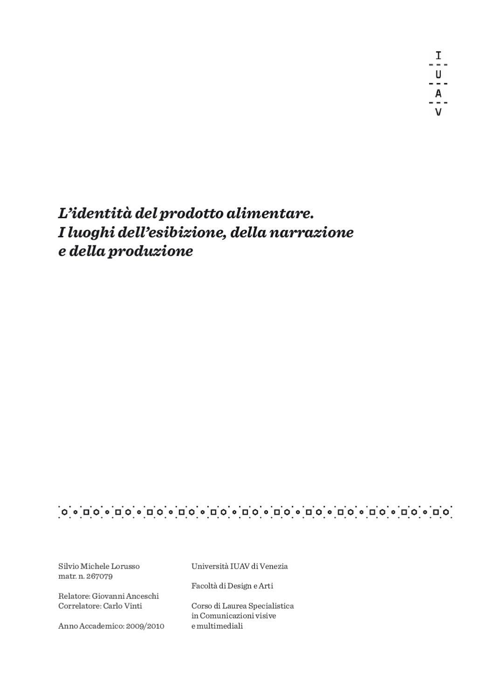L identità del prodotto alimentare by Silvio Lorusso - issuu 7a58f2297d7