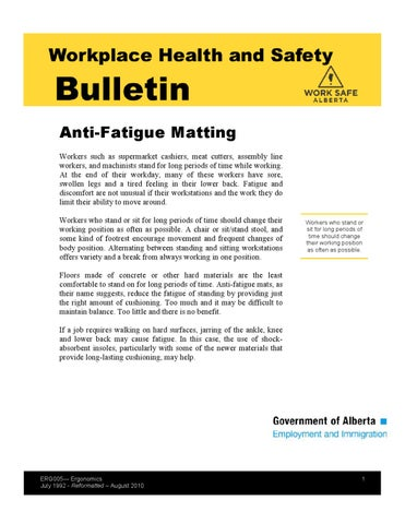 Work Safe Alberta - Anti Fatigue Mats by Jeremy Coules - issuu