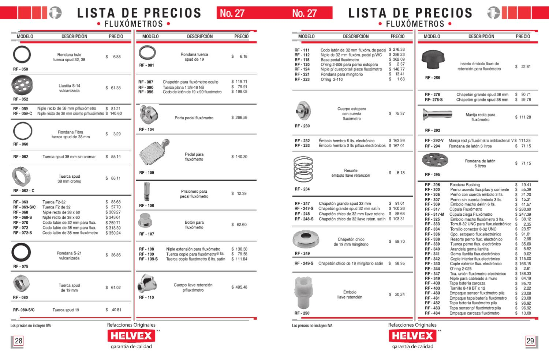 Lista precios refacciones helvex by juan garcia issuu Llaves helvex precios