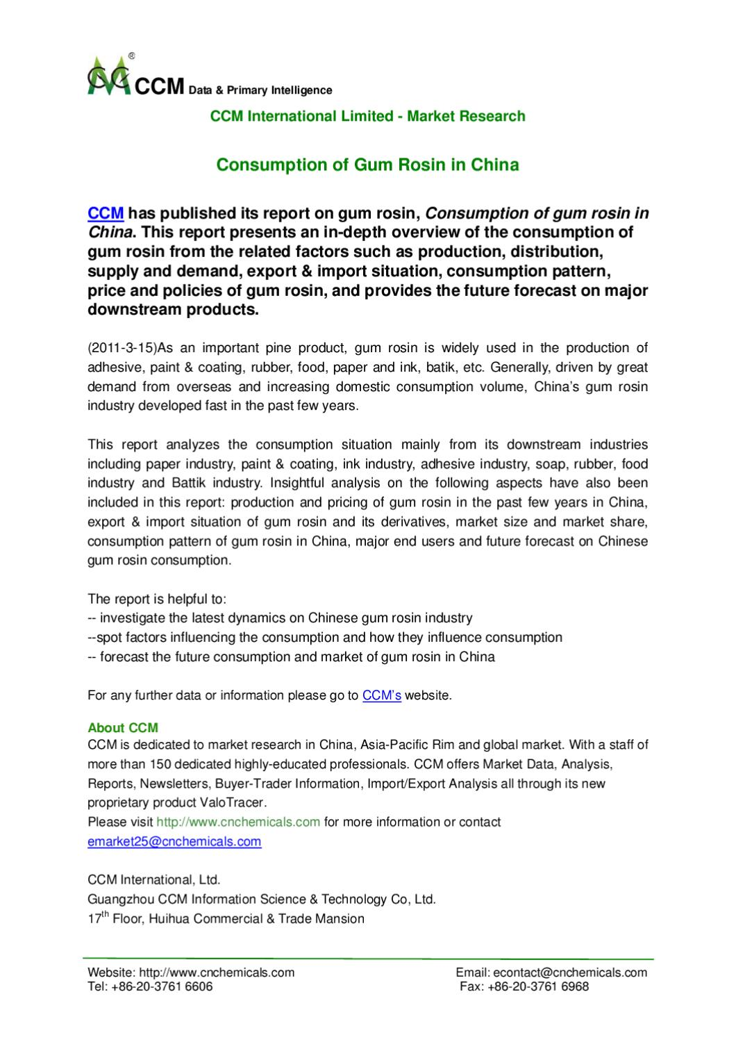 Press Release - Consumption of Gum Rosin in China by Guangzhou CCM