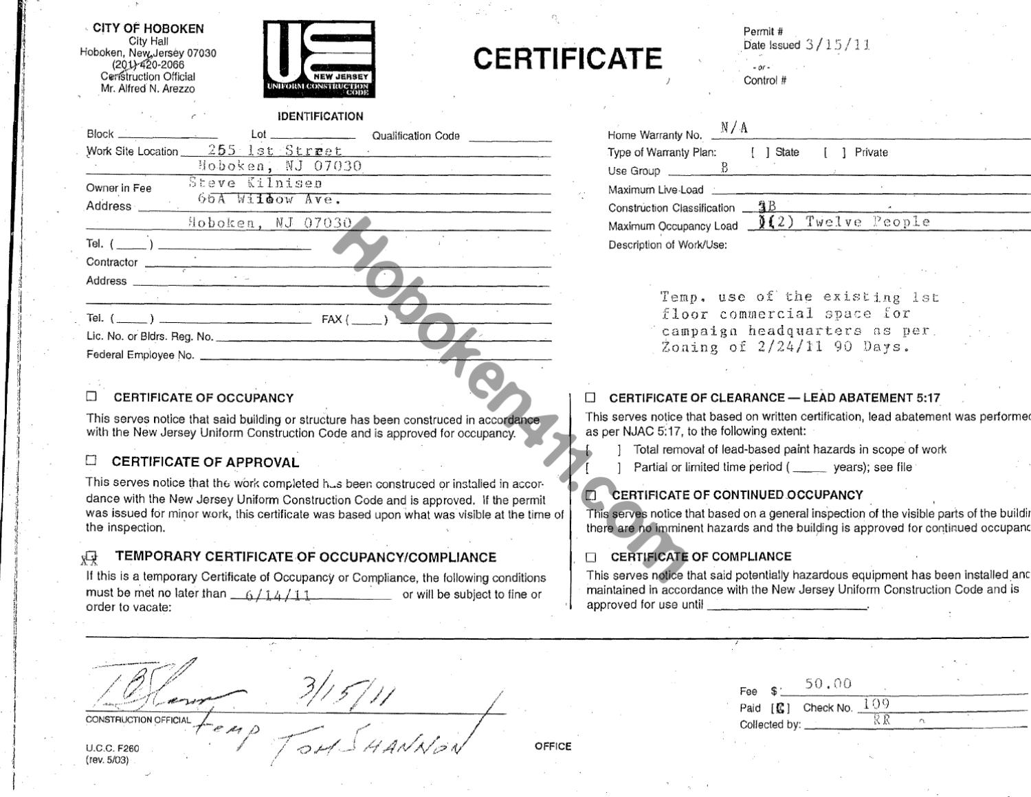 Occupancy Certificate March 15 Kurta Pinchevsky Hob By Perry