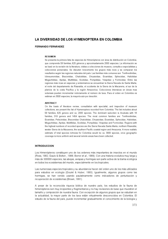 DBI. Cap20. LA DIVERSIDAD DE LOS HYMENOPTERA EN COLOMBIA by Henry ...