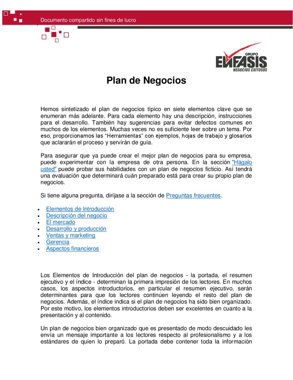 Plan de Negocios en Siete Elementos by JLRaul Jordan S - issuu