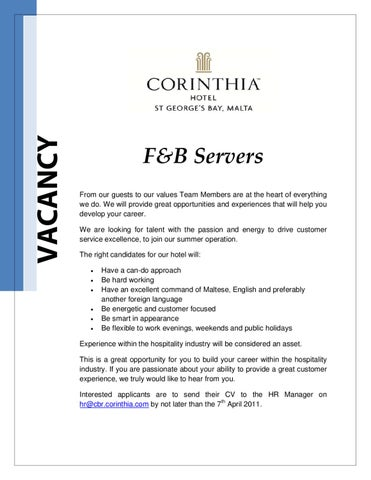 F&B Servers - Summer Recruitment by NADIA ZEHNI - issuu