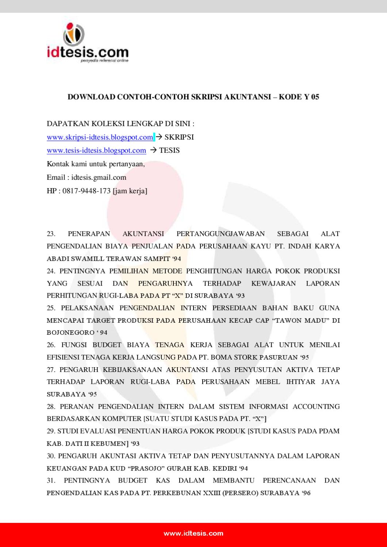 Contoh Skripsi Akuntansi Y 05 By Sanjaya Jogja Issuu