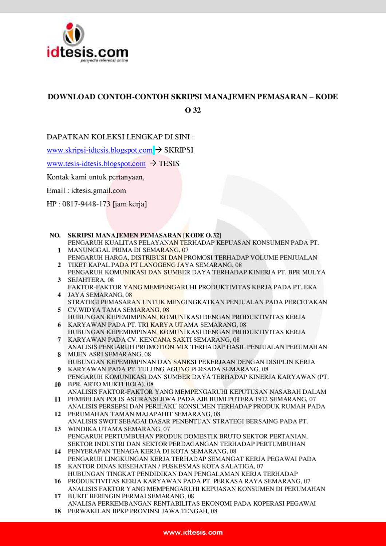 Contoh Skripsi Manajemen Pemasaran Kode O 32 By Sanjaya Jogja