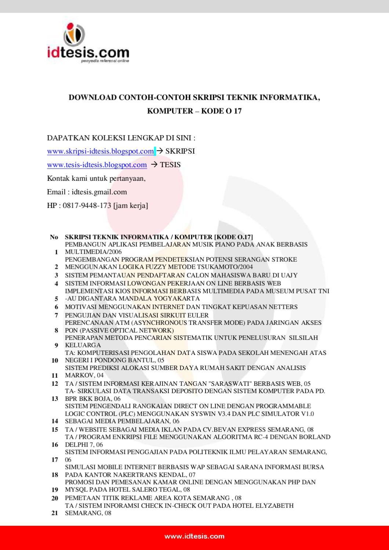 Contoh Skripsi Teknik Informatika Komputer Kode O 17 By Sanjaya