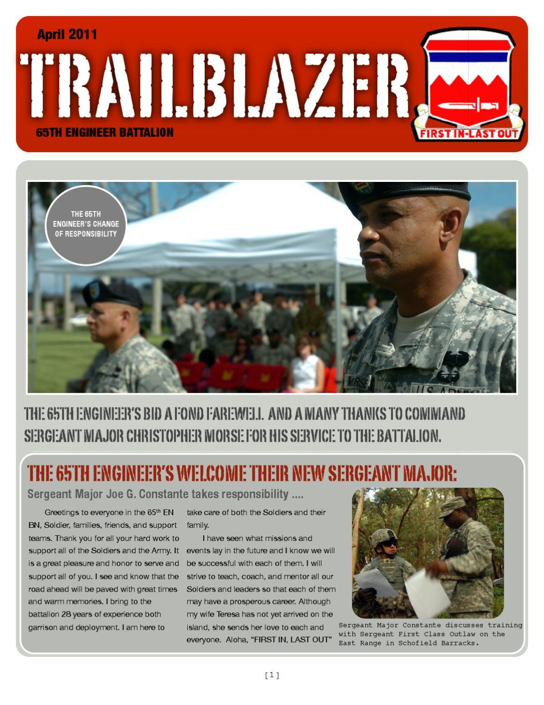 TRAILBLAZER By 65th Engineer Battalion 130th Brigade