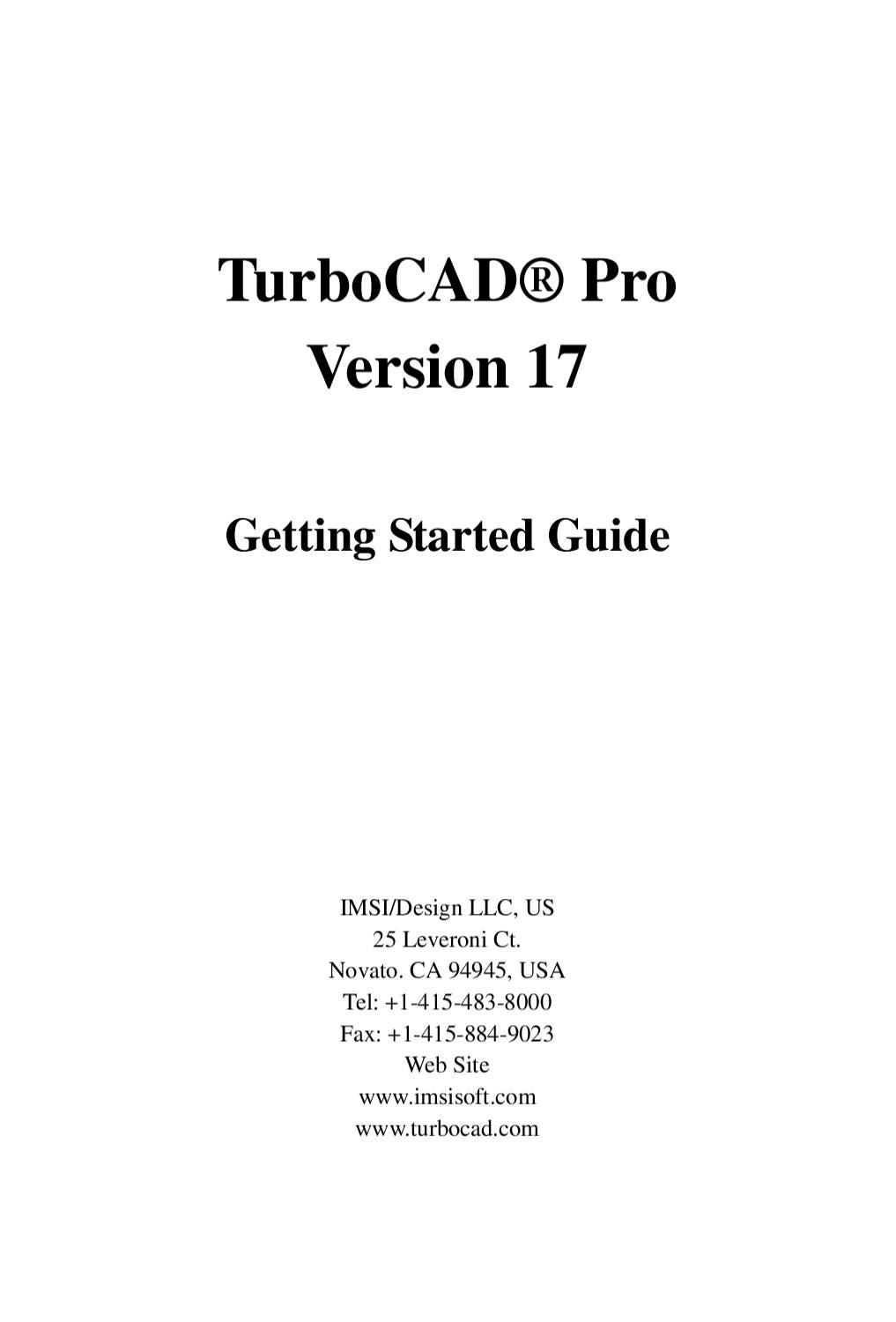 Turbocad Pro Ver17 Getting Started Guide By Murat Mayor Issuu