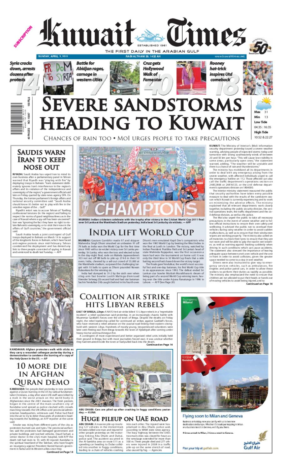 3 April By Kuwait Times Issuu