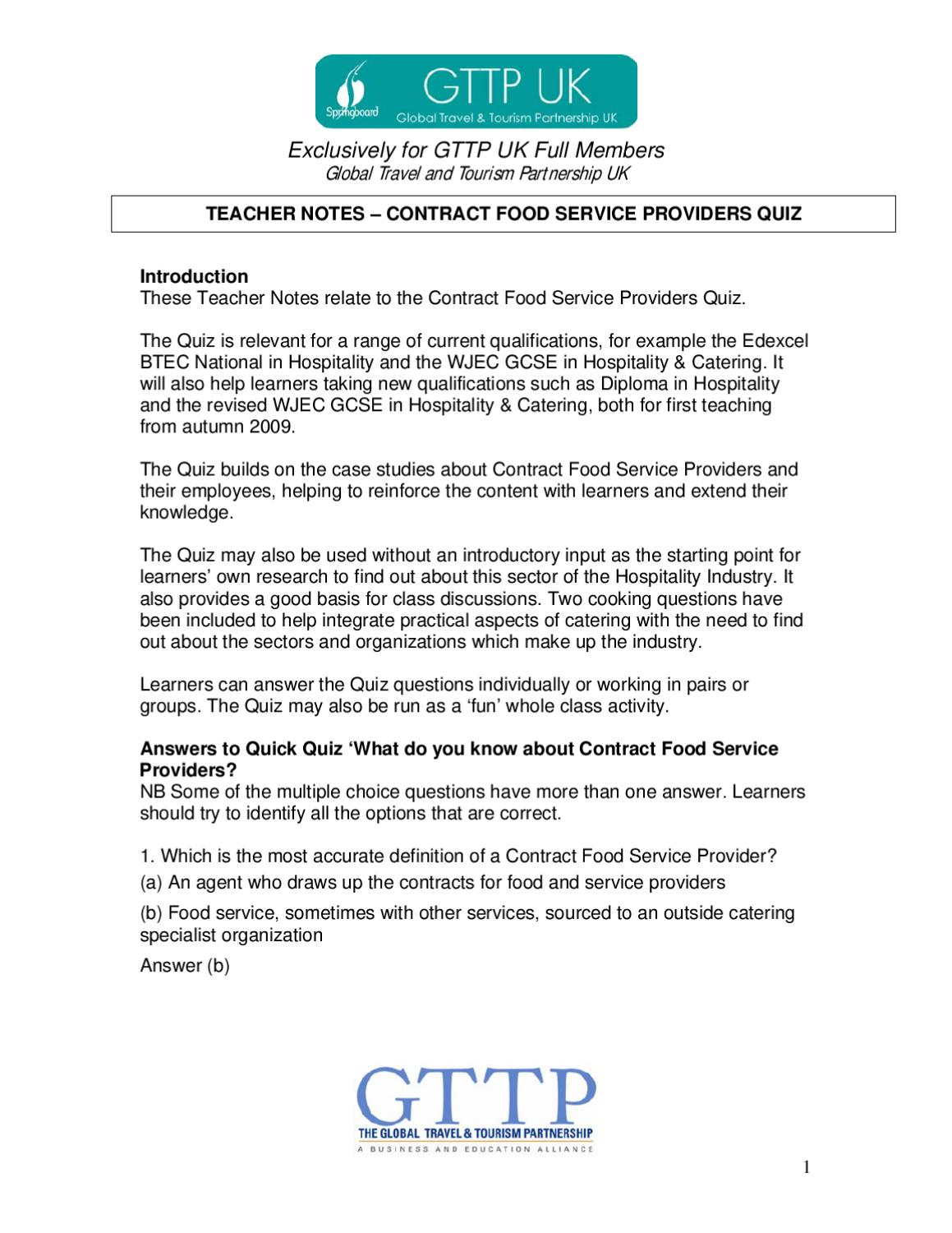 Contract Food Service Providers Quiz Teacher Notes by Resource ...