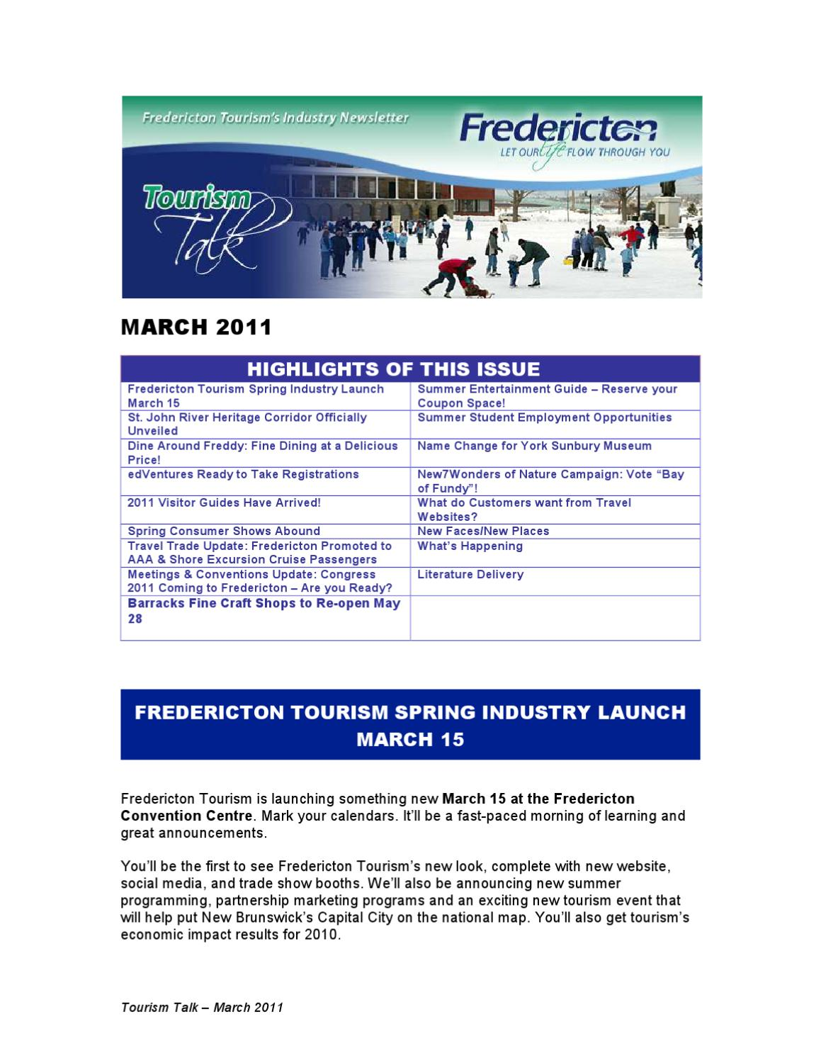 March2011Eng by Fredericton Tourism - issuu