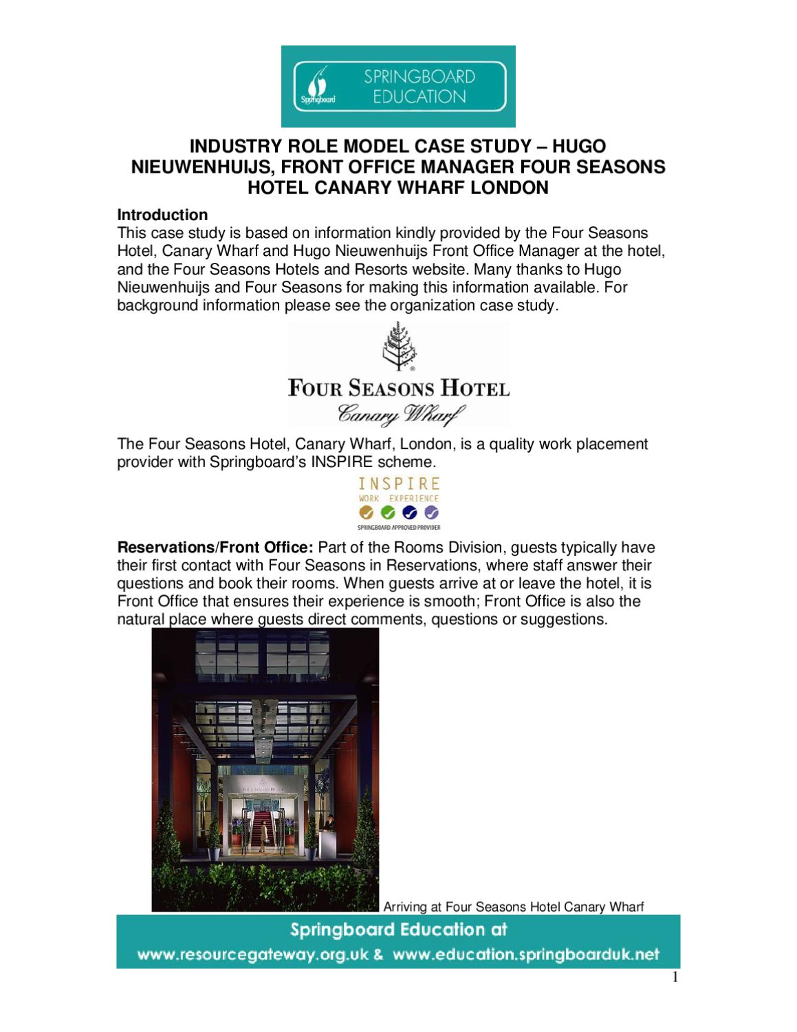 Four seasons role model case study 6 front office - What is the role of an office manager ...