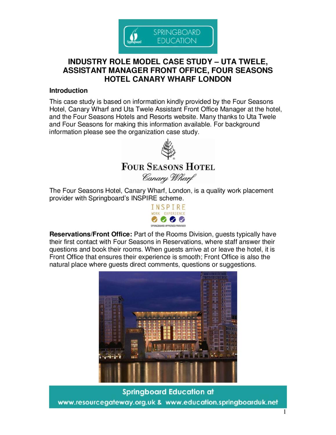 four seasons case study A case study on four seasons resorts explains why four seasons chooses omnicard a case study on four seasons resorts explains why four seasons  case study.