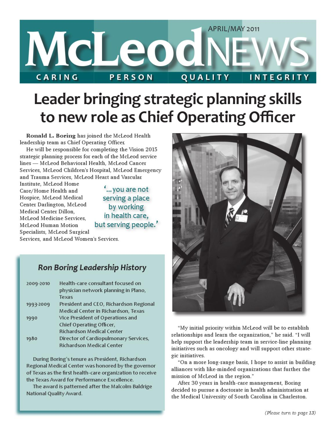 McLeod News -- April-May 2011 by McLeod Health - issuu