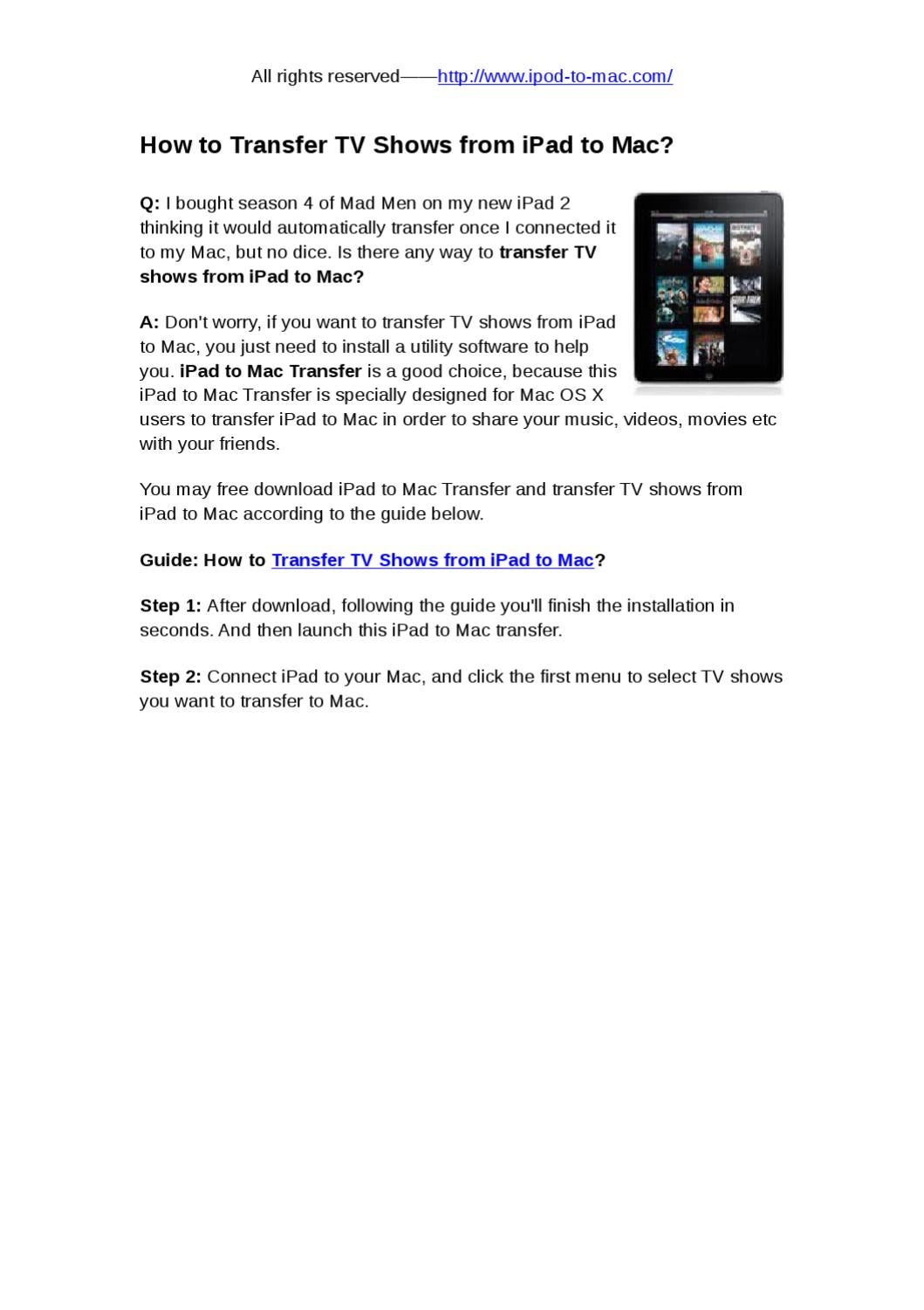 Free tv series downloads for ipad.
