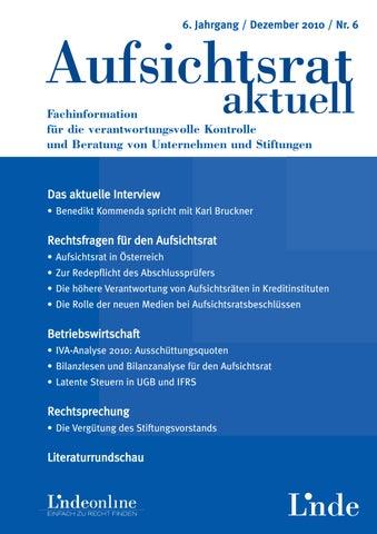 Aufsichtsrat Heft 6 2010 By Linde Verlag Gmbh Issuu