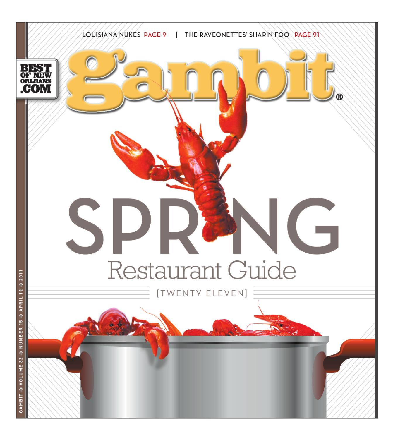 Gambit\'s 2011 Spring Restaurant Guide by Gambit New Orleans - issuu