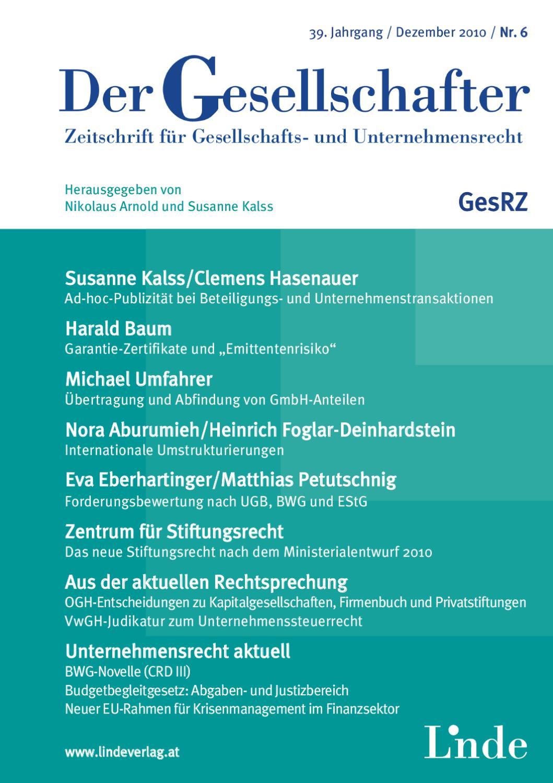 Der Gesellschafter - GesRZ - Heft 6 2010 by Linde Verlag GmbH - issuu