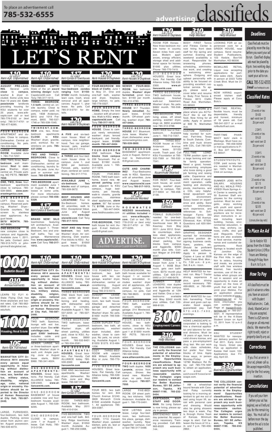 classifieds 4-11-11 by kansas state collegian