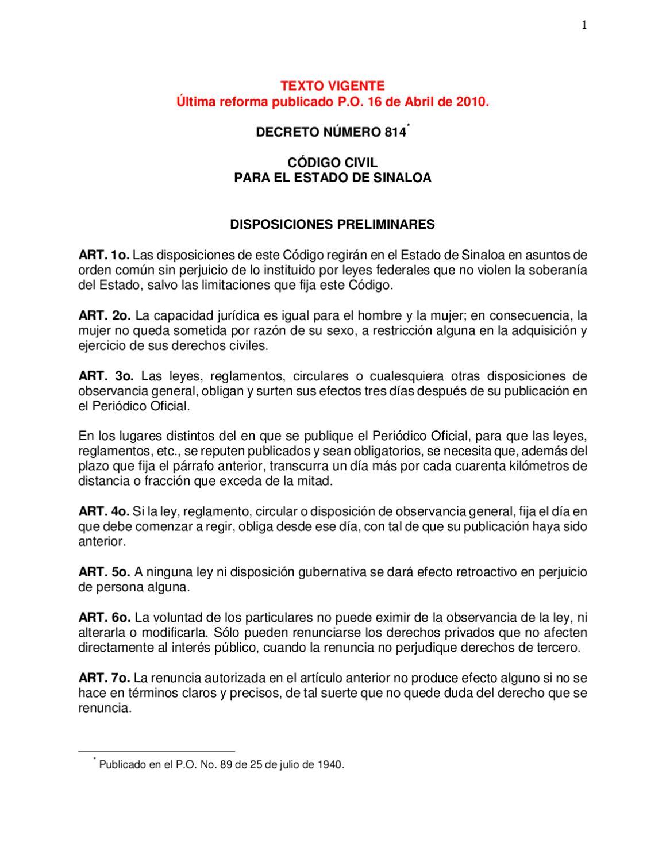 Codigo Civil del Estado de Sinaloa by Iveth Felix - issuu