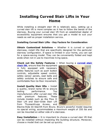 f5432b3e947 Installing Curved Stair Lifts in Your Home While installing a straight  stair lift is relatively easy