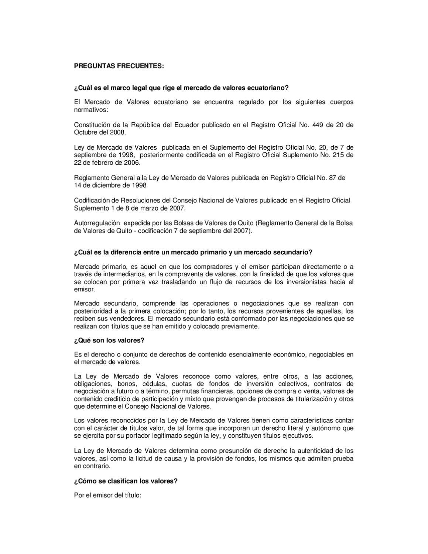 Preguntas Frecuentes BVQ by Bolsa de Valores de Quito - issuu