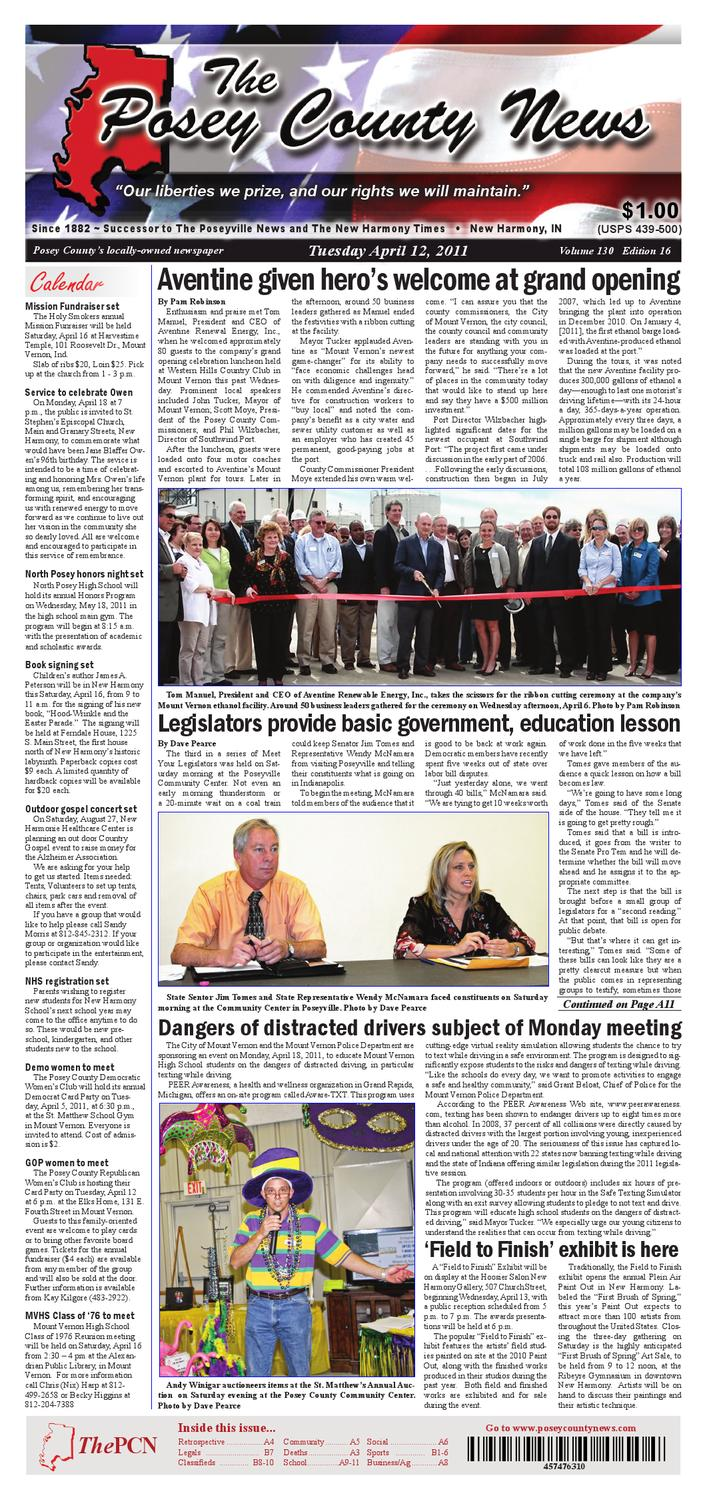 The Posey County News - April 12th 2011 Edition by The Posey County News -  issuu
