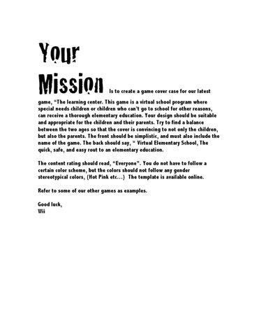 Game Design Brief By Izzy ThompsonPomeroy Issuu - Game design brief