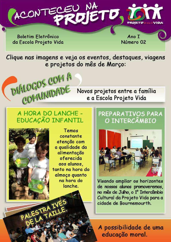 Boletim Virtual Mês De Março2011 Escola Projeto Vida By Escola