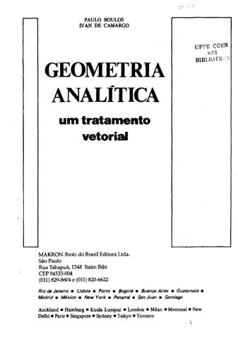geometria analitica boulos by janilson cordeiro issuu