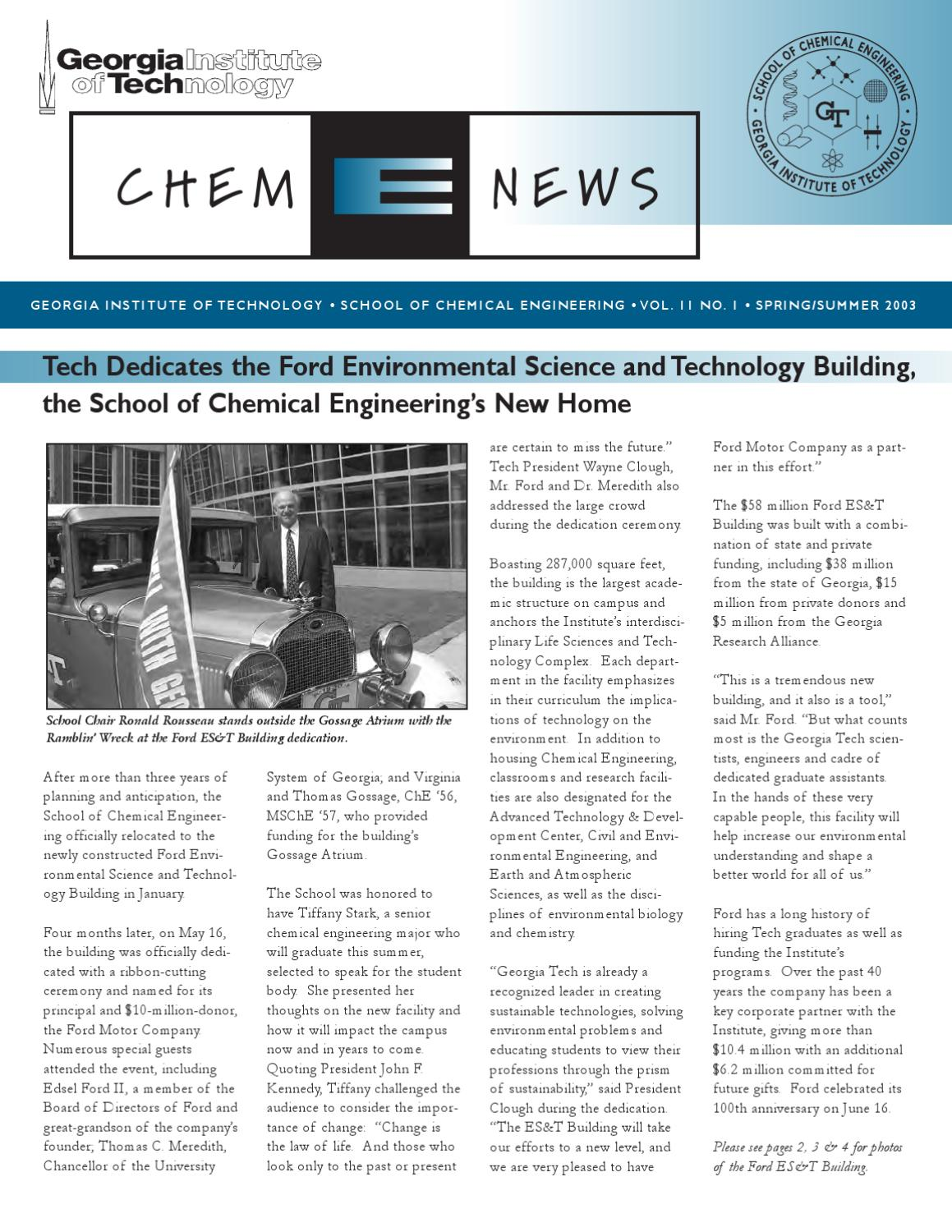 ChBE News—Spring/Summer 2003 by School of Chemical & Biomolecular Engineering at Georgia Tech - issuu