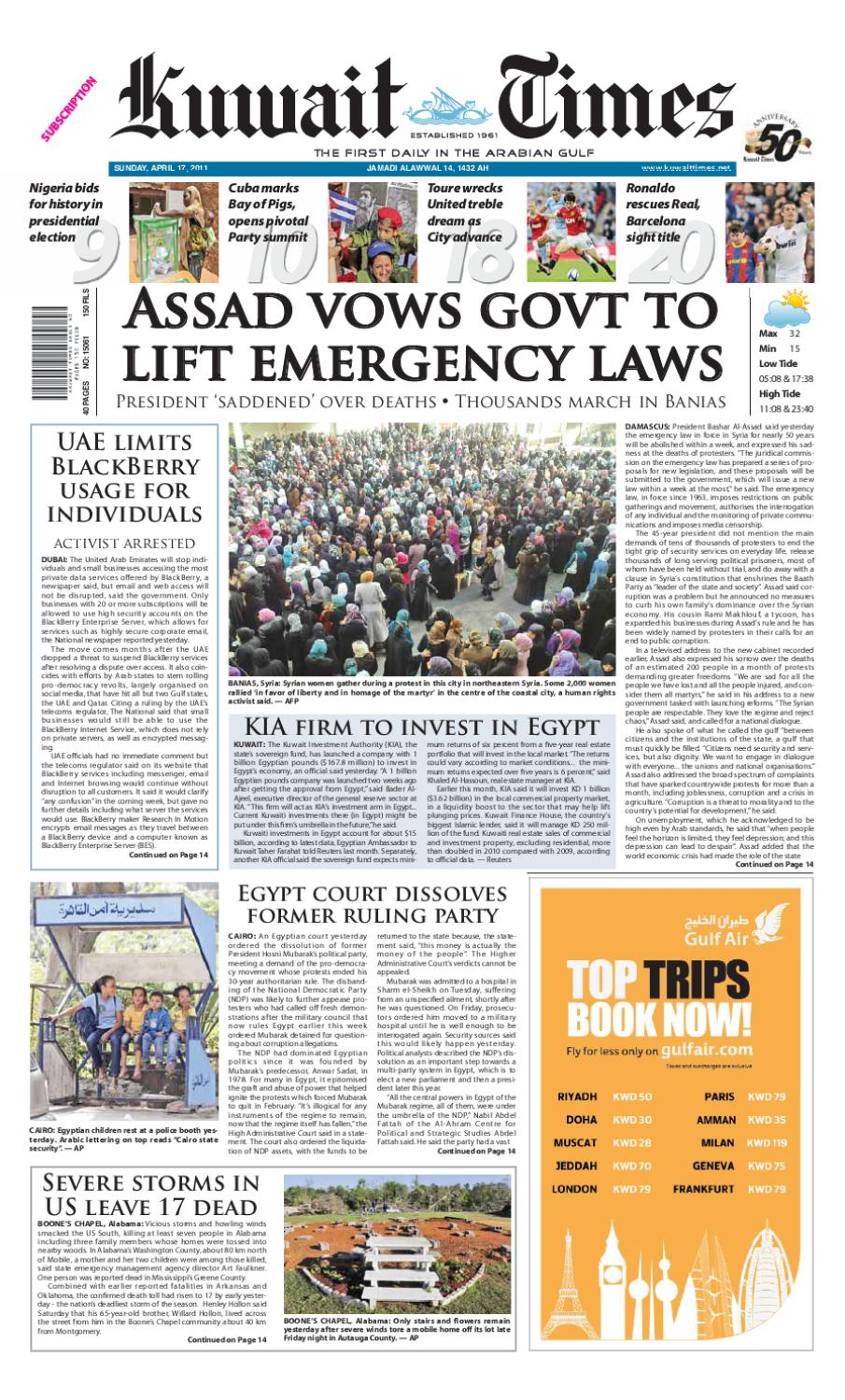 ad85e934a 17 April by Kuwait Times - issuu