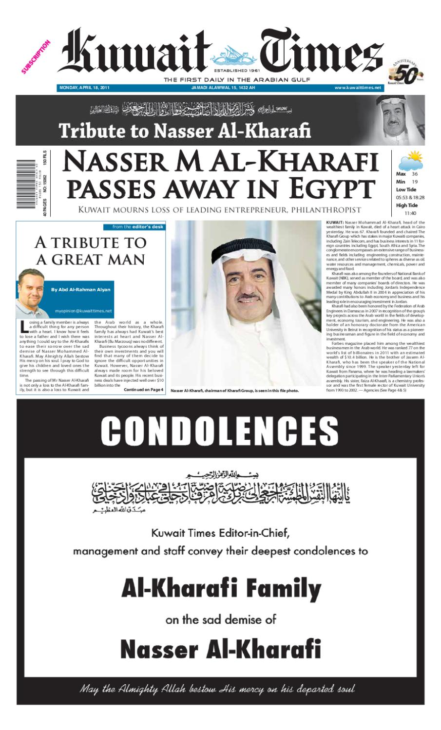 18 April by Kuwait Times - issuu