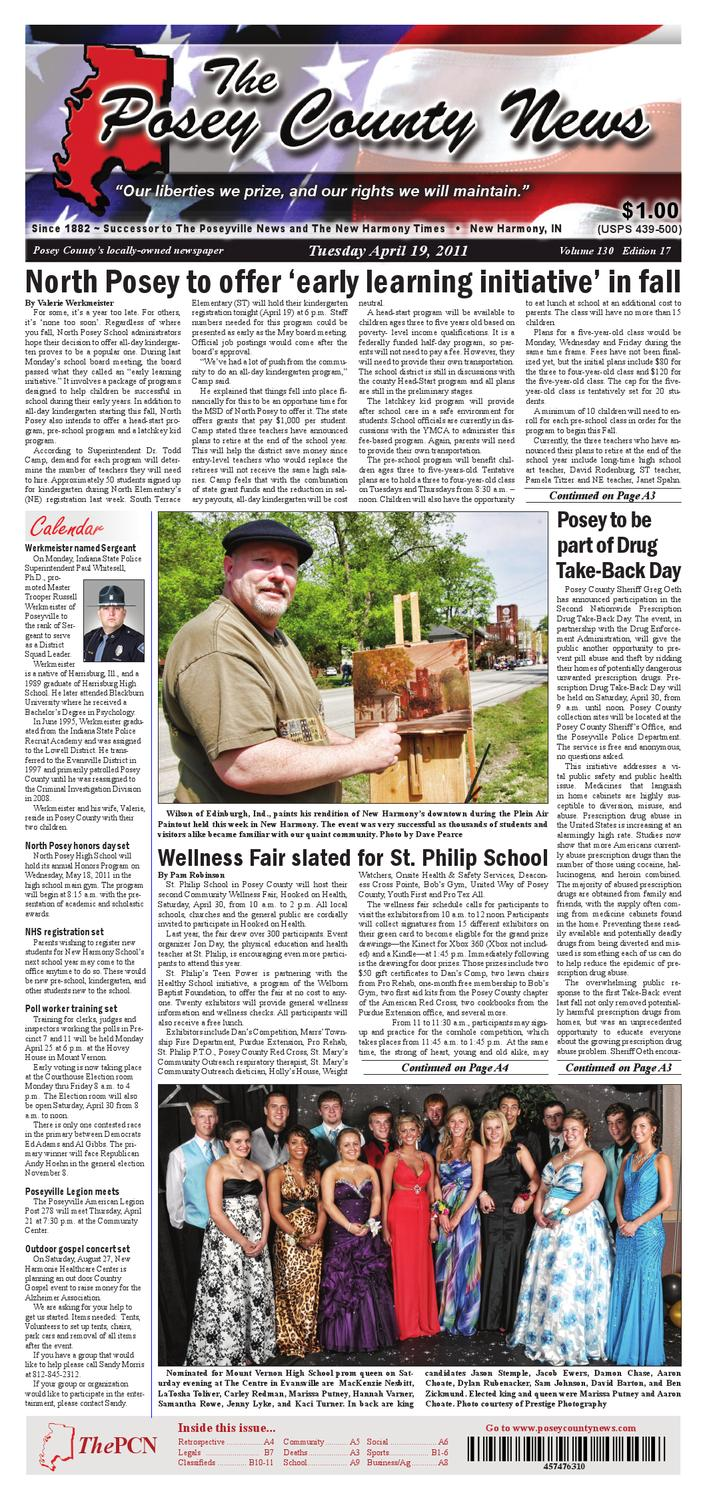 The Posey County News April 19th 2011 Edition By Charles Jourdan 1005 2312 Silver Issuu