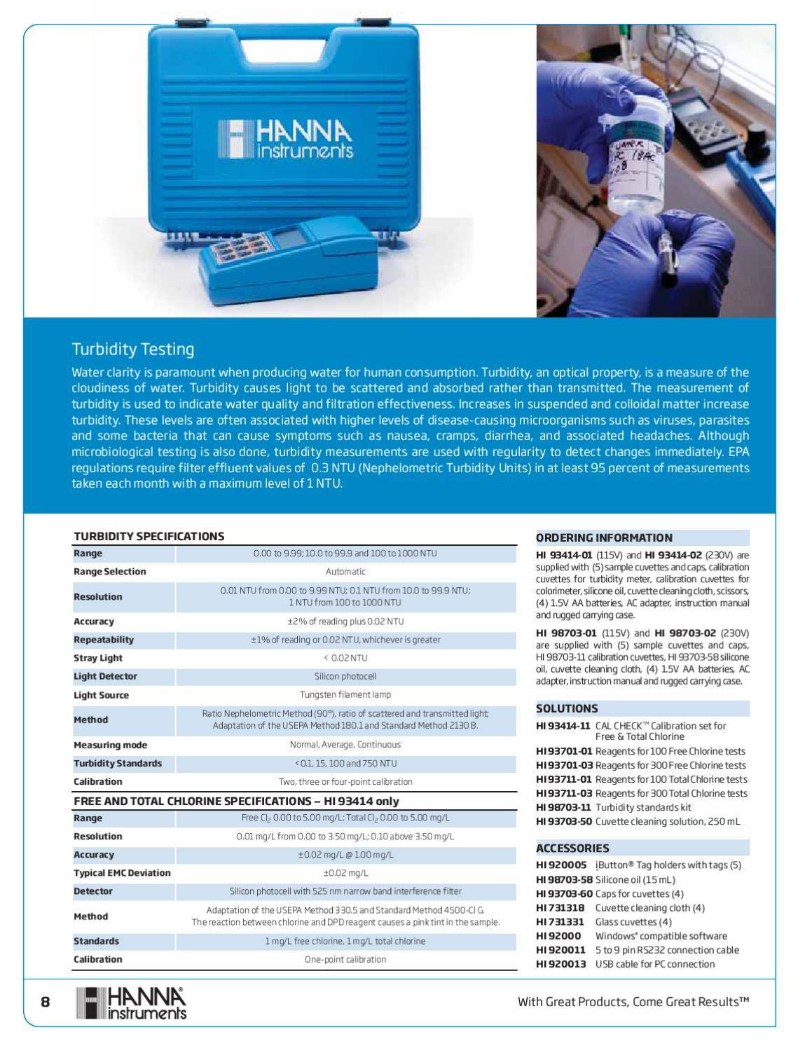 Hanna Instruments Drinking Water Catalog by Aqua Technology Group