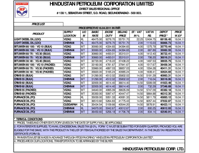 Bitumen Price List wef 16-04-2011 by vizag roads - issuu