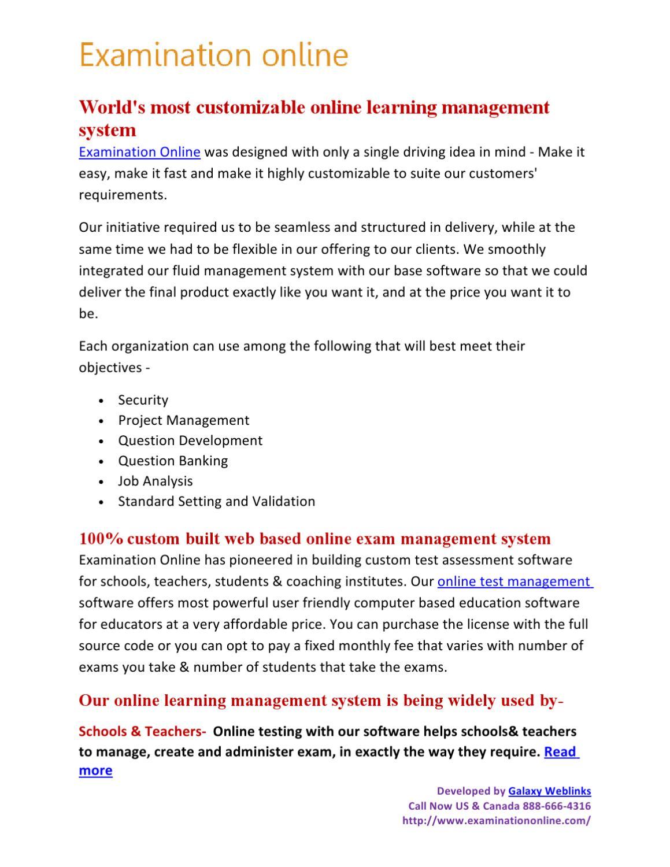 Custom Web Based Exam Management System by Examination online - issuu
