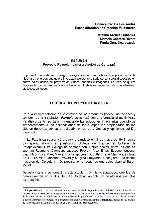 Rayuela Documento Inicial By Paola Gonzalez Lozada Issuu