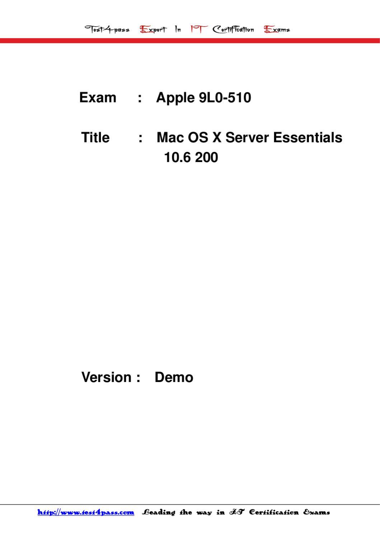 Test4pass 9l0 510 Braindumps Exam By John Yu Issuu