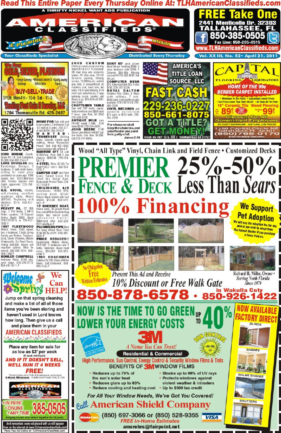 Tallahassee american classifieds issue 04 21 11 by - Craigslist tallahassee farm and garden ...