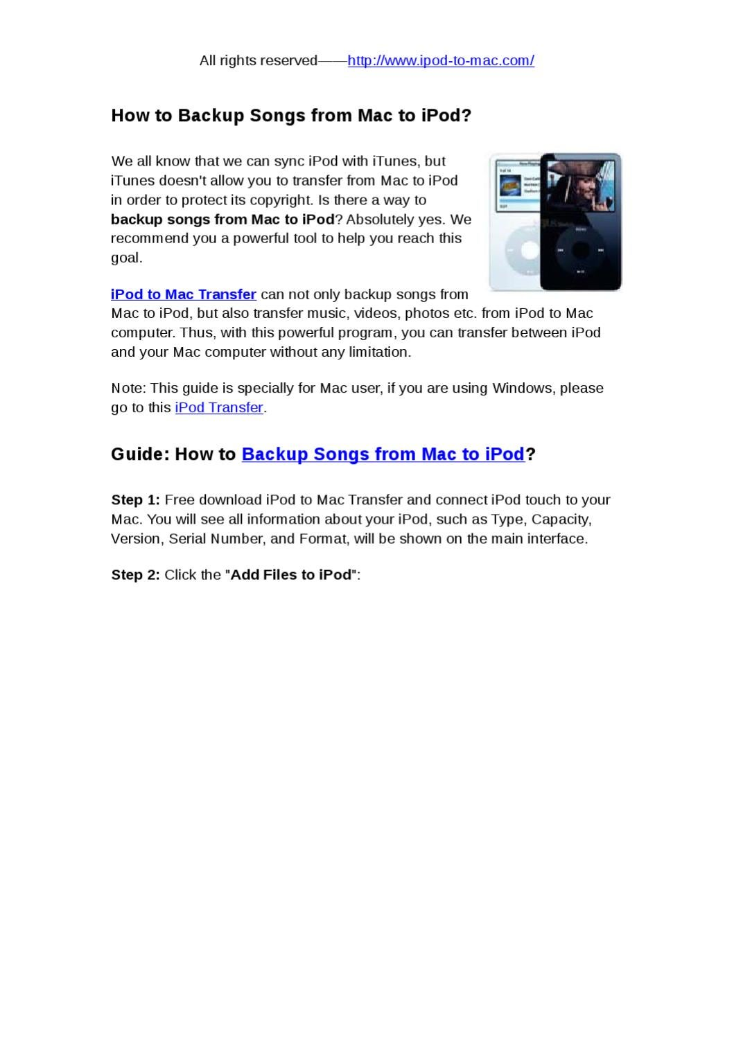 How to Backup Songs from Mac to iPod by snow abcd - issuu