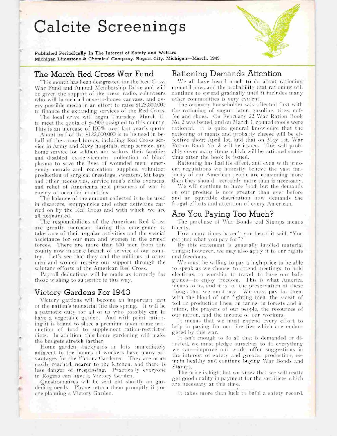 CALCITE SCREENINGS 1943 By Presque Isle County Historical Museum Issuu