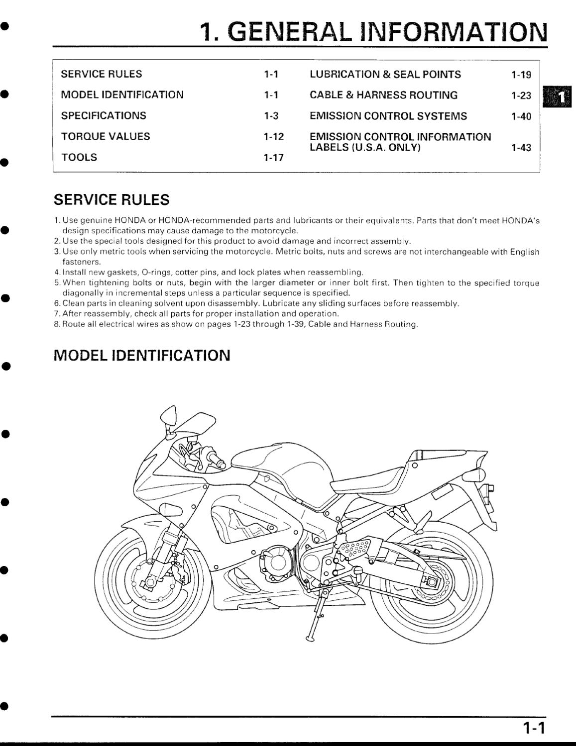 page_1 honda cbr929rr year 2000 service manual by n d issuu GM Fuel Pump Wiring Diagram at couponss.co