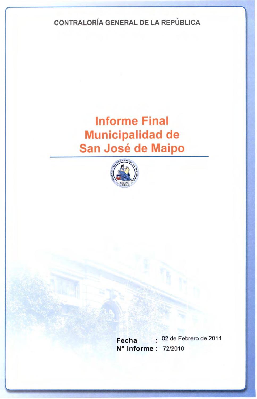 Informe Final Nº72 de Auditoria de la CGR by Unión Comunal de Juntas ...