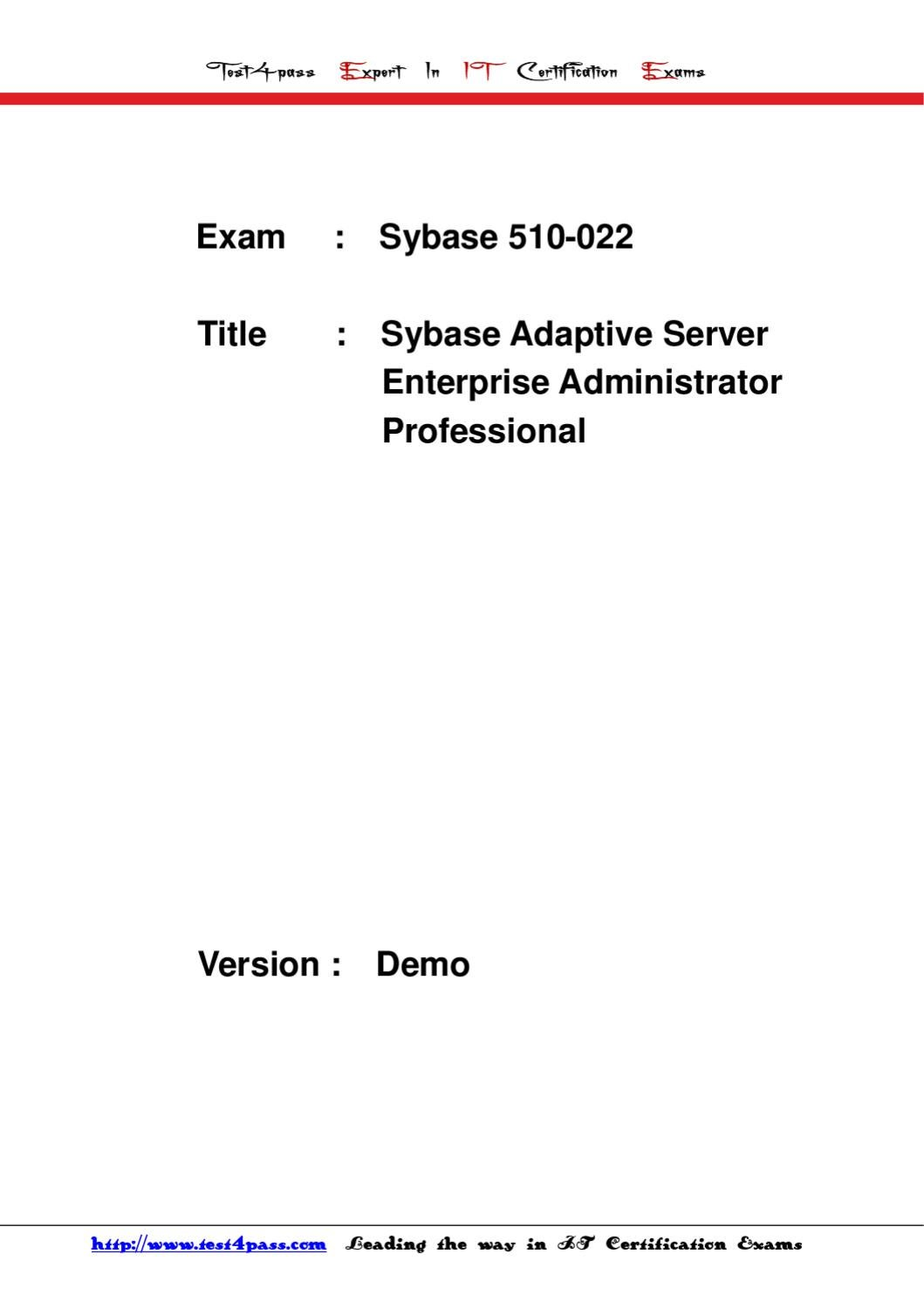 Test4pass Free Sybase 510 022 Exam Dumps Pdf Download By Sell