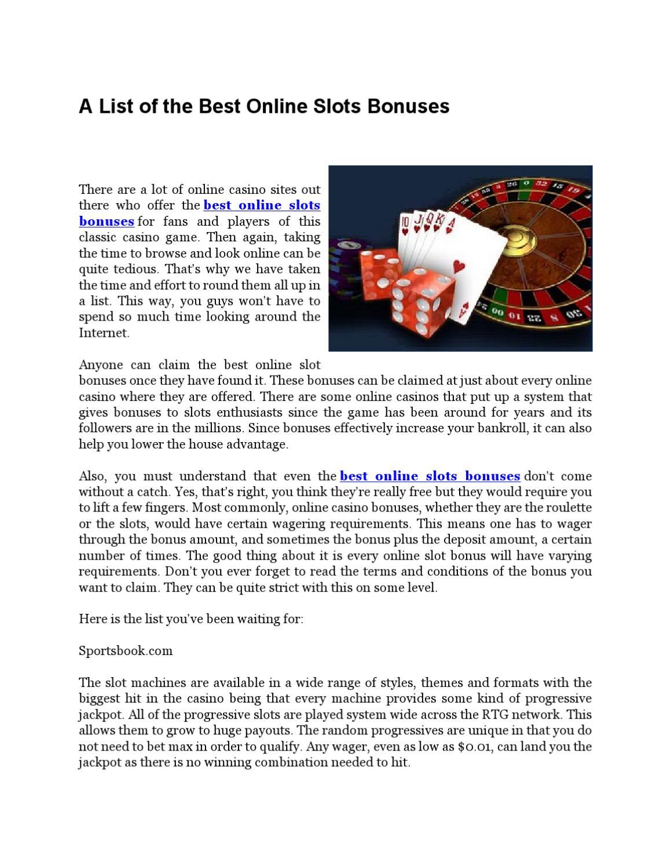 best online casino slots bonus